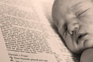 Baby with Bible - Black and White - Mason Dorman - Aug 2012